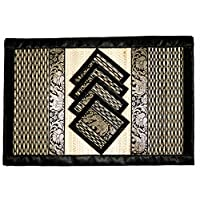 CCcollections Place Mat and Coaster 4 set 2 sizes Natural Reed wicker with plush silk trim and elephant print Eco sustainable craft (Large Blach & White)