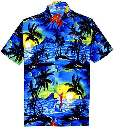 *La Leela* Shirt Camicia Hawaiana Uomo XS - 5XL Manica Corta Hawaii Tasca-Frontale Stampa Hawaiano Casuale Regular Fit Blu1896 L