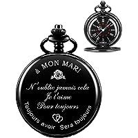 ManChDa Montre De Poche à Quartz pour Mari, Montres De Poche Vintage avec Chaîne pour Hommes