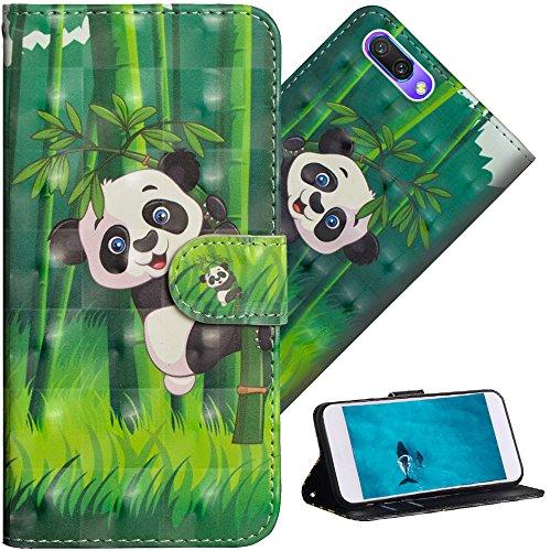 COTDINFOR Huawei Honor 10 Hülle für Geschenk Lederhülle 3D-Effekt Painted Kartenfächer Schutzhülle Protective Handy Tasche Schale Standfunktion Etui für Huawei Honor 10 Climbing Bamboo Panda YX.