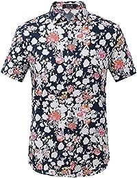 SSLR Camisa para Hombre Casual Estampada de Flores Manga Corta