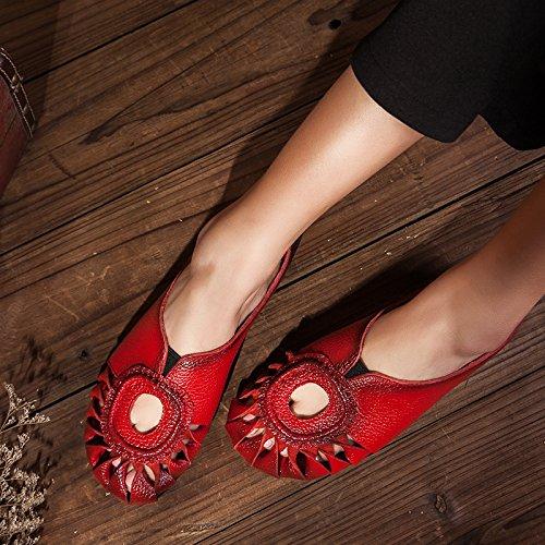 SCLOTHS Tongs Femme Chaussures Retrostyle Fleurs cuir artificiel Ajourг confortables télévision Baotou Le rouge