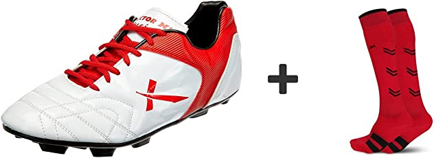 Vector X Fusion Football Shoes and Soccer Red Socks