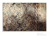 Wallario Herdabdeckplatte / Spritzschutz aus Glas, 2-teilig, 80x52cm, für Ceran- und Induktionsherde, Motiv Schnörkelmuster in dunkelbraun