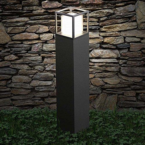 s.LUCE LED Standleuchte Cube 80cm Poller 10W LED Stehleuchte Lampe Schwarz Pollerleuchte Poller Weglampe Weglicht Terrasse Garten Lampe - Stehleuchte Diffusor