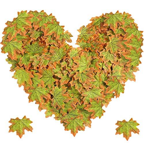 (Jovitec 500 Stücke Ahornblätter Künstliche Ahornblätter Grüne Farbe Herbst Herbst Ahornblätter für Hochzeit Tisch Scatter Halloween Party Hausgarten Dekorationen)