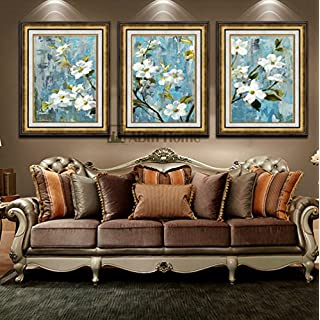 ABM Home -Flowers (51cm x 66cm/each Frame/3 pcs frame) Wall Art, Large Wall Picture Frame, Vintage Style,Framed Canvas, Large Poster (Luxury Gold, B)