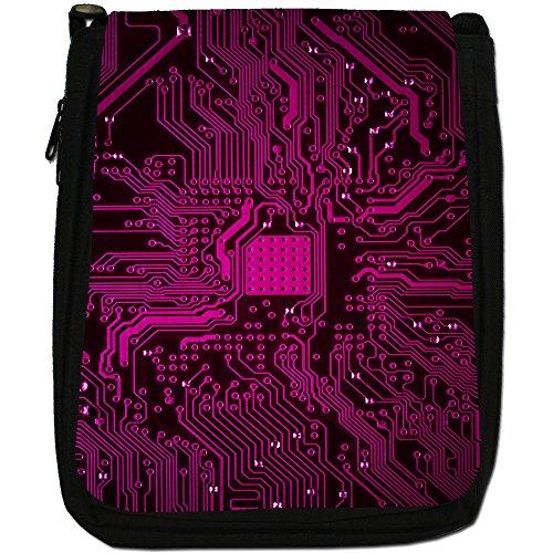 Circuito Motherboard Computer Close Up-Borsa a tracolla in tela, colore: nero, taglia: M Nero (Pink Memory Technology Board)