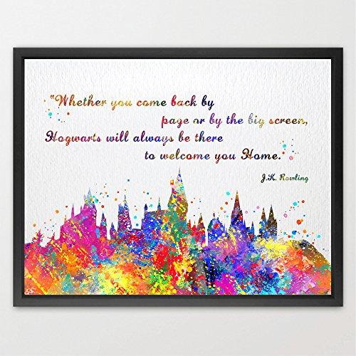 Preisvergleich Produktbild Dignovel Studios A3 Poster, Hogwarts-Schloss mit Zitat, Harry Potter, Aquarell-Kunstdruck, Kinderzimmerdekoration, Geschenk zur Hochzeit, Geburtstag, N381, ungerahmt