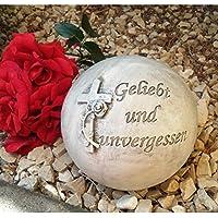 Perfekt Grabengel Kugel Kreuz Mit Rose Grabschmuck Grabdeko   Geliebt Und  Unvergessen