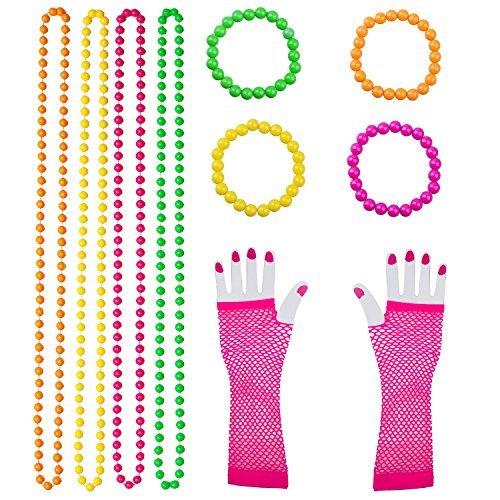 Keriber 10 Stück Kunststoff Neon Perlen Halsketten Neon Armbänder lange Fischnetz Handschuhe Set 80er Party Kleid Zubehör, Mehrfarbig -
