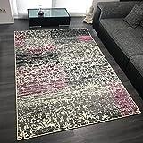 Design Velours Kurzflor Teppich 'Flora' mit Ornament Muster, Farbe:Creme, Größe:160x230