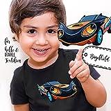 Bügelbilder Applikation Rennauto Auto blau Bügelbild Bügelmotiv Fahrzeug Aufbügelbilder für Jungs bb057 ilka parey wandtattoo-welt®
