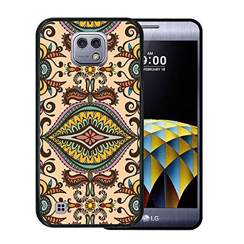 WoowCase LG X Cam Hülle, Handyhülle Silikon für [ LG X Cam ] Abstrakt Beige Muster Handytasche Handy Cover Case Schutzhülle Flexible TPU - Schwarz Beige Cam Cover