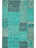 Benuta Flachgewebe Teppich Frencie Patchwork Blau 80x165 cm/Pflegeleichter Teppich für Flur und Andere Wohnräume