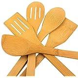 hollylife 5PCS Ustensiles de Cuisine en Bois pour Poêle antiadhésive Outil de Cuisine Ensemble Accessoires Complet Bambou 30C