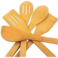 hollylife 5PCS Ustensiles de Cuisine en Bois pour Poêle antiadhésive Outil de Cuisine Ensemble Accessoires Complet…