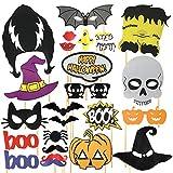 24 Artículos para Decoración de Halloween – Incluye Decoraciones Props para Selfi Extra Grandes! Kit de Accesorios Ideales para Fiestas de Disfraces, Cabina de Fotos, Mascara, y Mas