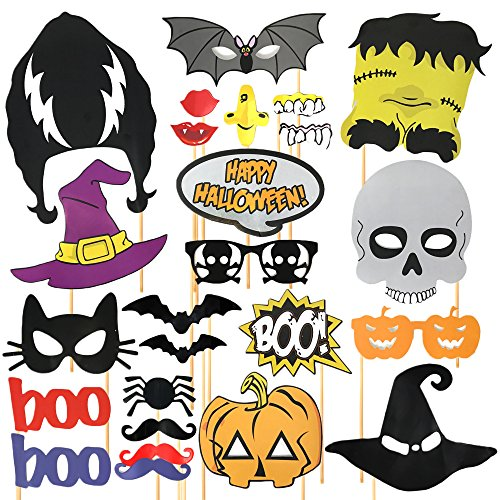 Requisiten Halloween Party (24 Stück Halloween Photo Booth Props – perfekte Foto Requisiten für Partys – Selfie Karton)