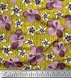Soimoi Jaune Crepe Poly en Tissu Feuilles et Lily Floral Tissu Imprime 1 Metre 42 Pouce Large