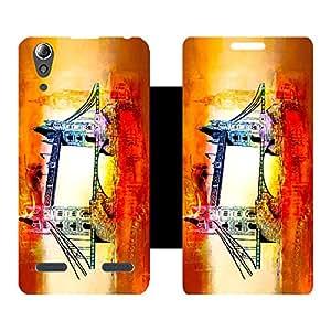 Skintice Designer Flip Cover with Vinyl wrap-around for Lenovo A6000 Plus, Design - london (2)