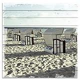 Wandbild aus Holz | Holzbild | Shabby-Look | Landhaus | Strand | Strandkörbe | Vintage | Geschenk | ca. 50x50 cm