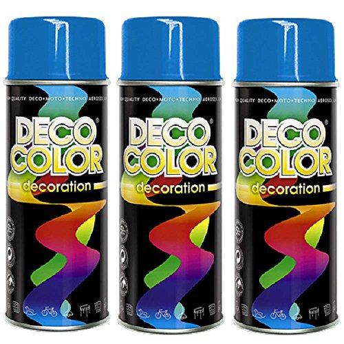 Preisvergleich Produktbild 3er Sparpack DC Lackspray glänzend 400ml nach RAL freie Farbauswahl (3 Dosen in himmelblau glanz RAL 5015)