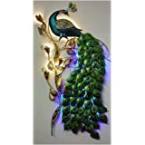 Mahalaxmi Art Handcrafted Iron Wall Hanging Peacock LED 3.5ft