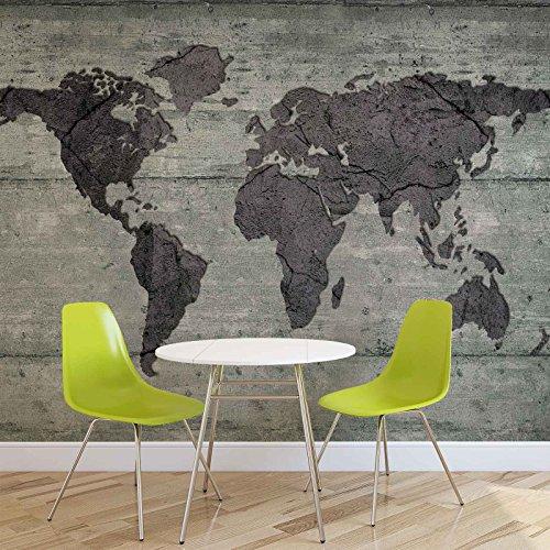 weltkarte-beton-textur-forwall-fototapete-tapete-fotomural-mural-wandbild-2854wm-xxxl-416cm-x-254cm-