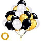 YiRAN Gold and Black Balloons, 100 pcs of Black Balloons, Gold Metallic Balloons,White Balloons for Black Gold Party Decorati