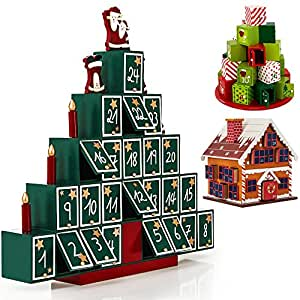 Calendrier de l 39 avent maison en bois remplir soi m me for Decoration de noel amazon