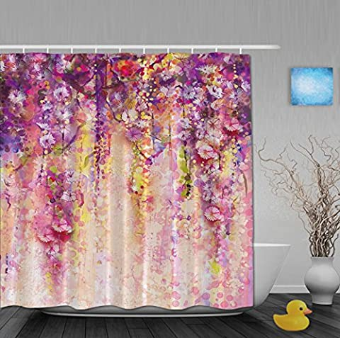 Art Printing Spring Secenry Pink Floral Waterfall Bathroom Shower Curtains Waterproof Polyester Fabric For Home Decor 72