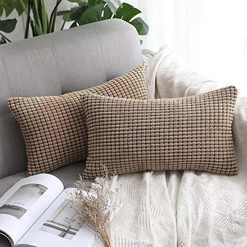 Miulee confezione da 2 federa granula per cuscino fodera morbido quadrato decorativo per divano letto auto in misto poliestere 30x50cm marrone