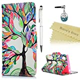 Mavis's Diary Sony Xperia XA1 Case , Xperia XA1 Flip Case - Wallet Flip Bumper Cover PU Leather Case Shockproof with Soft Rubber Silicone Gel Back Holder Magnetic Closure Stand Stylish Prints Protective Cover - with Dust Plug & Stylus for Sony Xperia XA1 - Colourful Tree