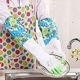 DULEE dulee Plus Plüsch Warm Waschen Handschuhe Wäschekorb Haushalt Reinigung Blume Ärmel Gummi Handschuhe wasserdicht Style 2 Green
