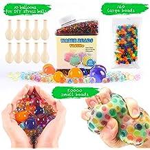 Perlas de agua Pack (50000pequeñas perlas de agua/160gran jumbo perlas de agua/10globos) Mixta Jelly Gel de agua cuentas bolas para sensorial juguetes y decoración