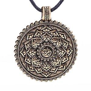 Lemegeton Halskette mit Mandala-Anhänger, Indien, Buddhismus, Blumensymbol, Retro-Vintage-Schmuck