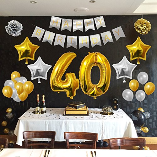 Globos cumplea os happy birthday 40 suministros y for Decoracion con globos 50 anos