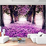Fototapete Wald Park Vlies Wand Tapete Wohnzimmer Schlafzimmer Büro Flur Dekoration Wandbilder XXL Moderne Wanddeko - 100% MADE IN GERMANY - Pink Violett Lila Runa Tapeten 9003010b