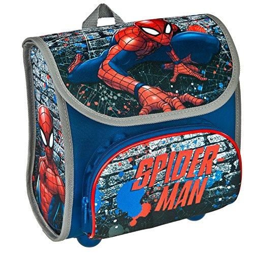 Scooli Vorschulranzen Cutie, Marvel Spider-Man, Kinder-Rucksack, 23 cm, 4,5 L, Blau (Spider-man-klettverschluss)