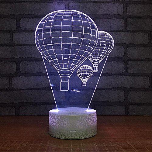 MAFYU 3D Nachtlampe,Heißluft-Ballon Kreative 7 Farben Gradient Dreidimensionale Kleine Designleuchte Touch + Fernbedienung