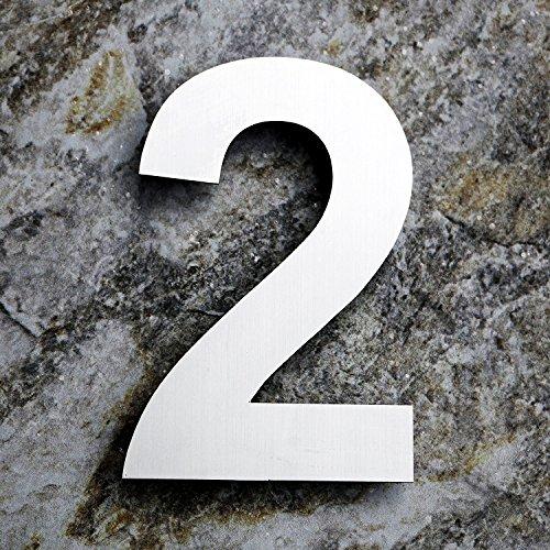 QT Moderne Hausnummer -Größe: 20 Zentimeter (Nummer 2 / Zwei) GROß, Gebürsteter Edelstahl - 2