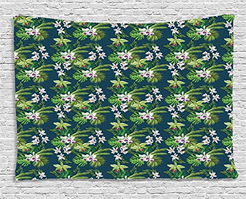 VTXWL Orchids Tapestry, Island Theme Blooms with Palm and Banana Leaf Jungle Rainforest, Wall Hanging for Bedroom Living Room Dorm, 80 W X 60 L Inches, Fern Green Night Blue White (Palm Cross Leaf)