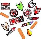 Auto Aufkleber JDM Style Sticker Tuining wakabe Japan sun rising sun pedobär domokun sticker japan flagge Stcikerset 15 Stück