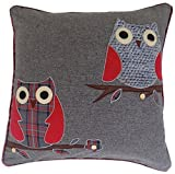 "CUTE OWLS RED GREY EMBROIDERED WOOL BLEND THICK CUSHION COVER 18"" - 45CM"