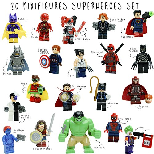 Kid's Corner Productions - 20 Superheroes Minifigures Set and Stickers | NEW Collection | 20 Superheroes Characters | More Figures More FUN and a GIFT | HULK, Robin, Wonder Woman, Batman, Logan