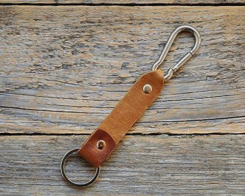 Braunes und Hellbraunes Leder Karabiner Schlüsselanhänger Ringhalter Klammer Schlüssel Karabiner-haken Geschenk Schlüsselband Anhänger