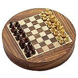 RoyaltyRoute aus Holz Schiebetüren Runde Schach mit magnetischen Stücke und Lagerung Durchmesser Set 23 Cm