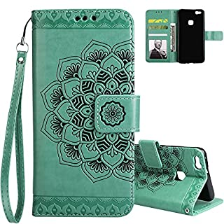 Aeeque P10 Lite Case, Huawei P10 Lite Green Mandala Flowers Pattern and Bookstyle Flip Magnetic Closure Wallet PU Leather Folio Holster Cover for Huawei P10 Lite 5.2