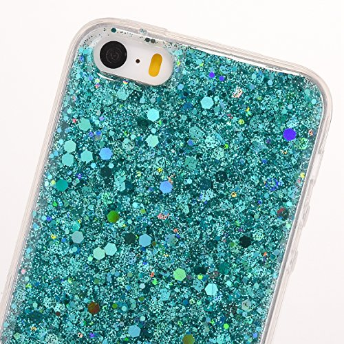 JAWSEU Coque Etui pour iPhone 5/5S/SE,iPhone 5S Plastique Coque Ultra Slim,iPhone SE Hard Case Pailletee Bling Housse Etui,2017 Neuf Luxury Design Femme Homme Fashion Ultra Mince Thin Cristal Clair Co vert/gliter
